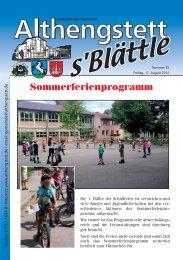 Sommerferienprogramm - Althengstett