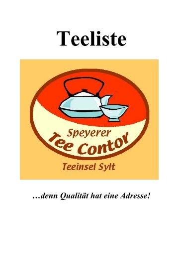 Teeliste - im Speyerer Tee-Contor