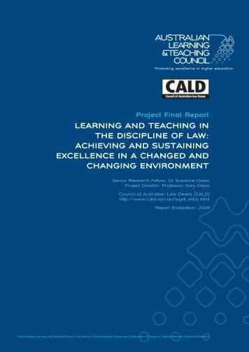 learning and teaching in the discipline of law - Council of Australian ...