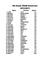 9th Grade TEAM Homeroom 2012-2013 - Manatee High School