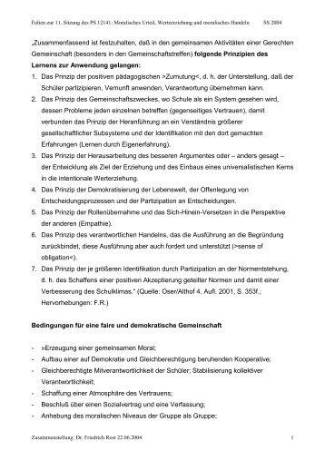 """""""Zusammenfassend ist festzuhalten, daß in den ... - Dr. Friedrich Rost"""