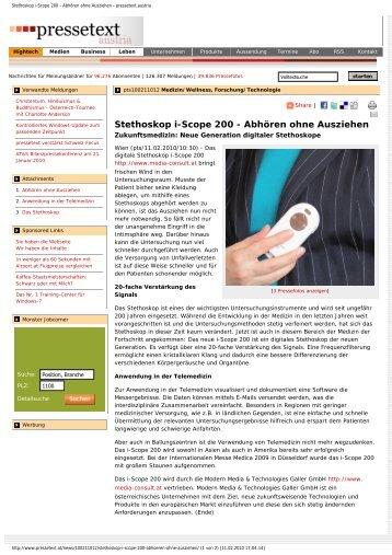 Stethoskop i-Scope 200 - Abhören ohne Ausziehen ... - Media Consult