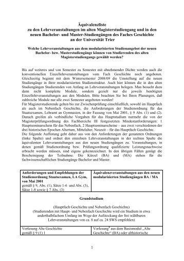 alten Magisterstudiengang - Homepage des Fachs Geschichte der ...