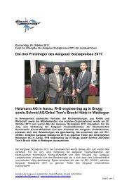 Die drei Preisträger des Aargauer Sozialpreises 2011 - Heizmann AG