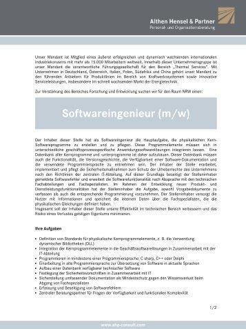 Softwareingenieur (m/w) - Althen Hensel & Partner