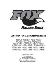 2004 FOX FORX Benutzerhandbuch - Fox Racing Shox