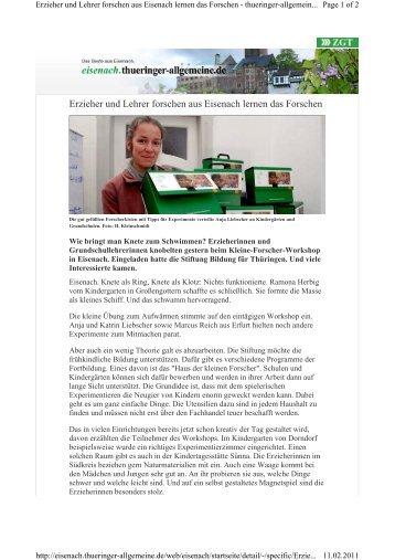 Erzieher und Lehrer forschen aus Eisenach lernen das Forschen