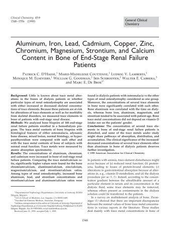 Aluminum, Iron, Lead, Cadmium, Copper, Zinc ... - Clinical Chemistry