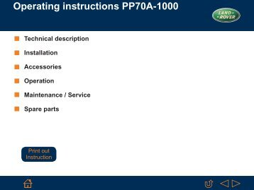 Operating instructions PP70A-1000 - Landrover