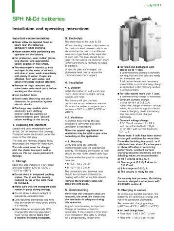 SPH Ni-Cd batteries - Saft