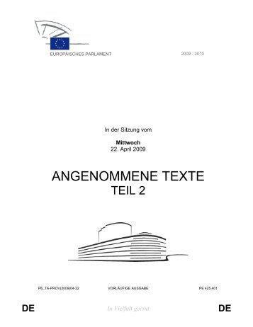 ANGENOMMENE TEXTE - Europa