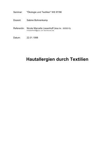Hautallergien durch Textilien - von Nicole Liesenhoff-Schubert