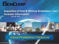 GenCorp Acquisition of Pratt & Whitney Rocketdyne - Aerojet