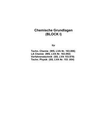 Chemische Grundlagen (BLOCK I)