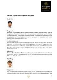 Staff Bio July 2012 - Halogen Foundation Singapore