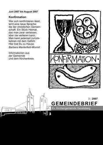 GEMEINDEBRIEF - der evangelischen Kirchengemeinde Gevelsberg