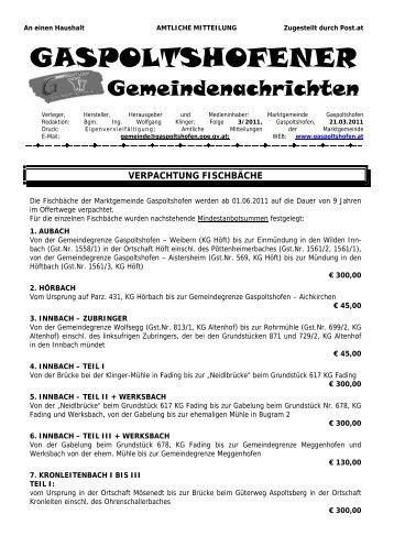 VERANSTALTUNGSKALENDER - Gaspoltshofen
