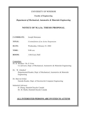 masc thesis proposal Whole thesis template use this to produce the whole thesis in one long word  document it contains all of the required sections from title page to.