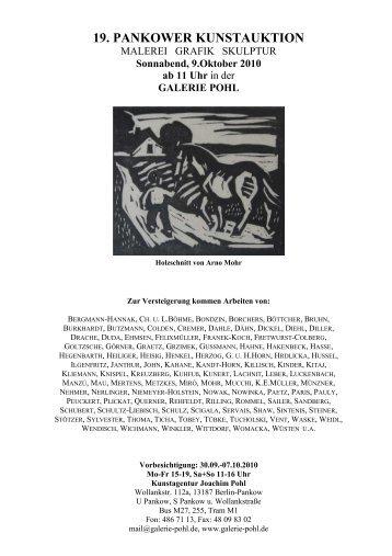 19. PANKOWER KUNSTAUKTION - Galerie Pohl