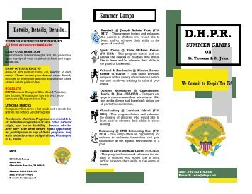 About DHPR Summer Camps - Department of Sport Park Recreation