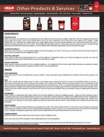 """A""""""""""""-'5 Other Products & Services - Amalie Oil Company"""