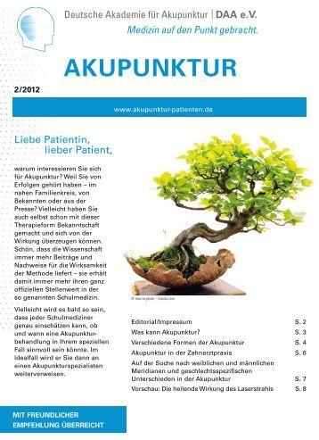Verschiedene formen der Akupunktur - Deutschen Akademie für ...