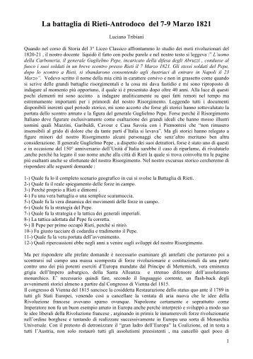 La battaglia di Rieti-Antrodoco del 7-9 Marzo 1821 - Archivio di ...