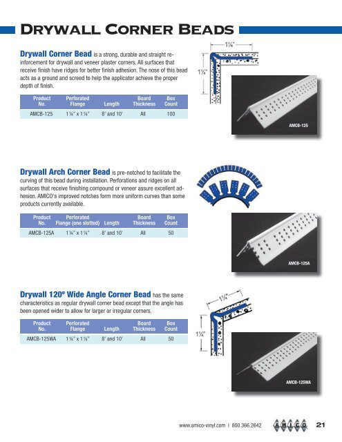 drywall Corner beads - AMICO Building Products