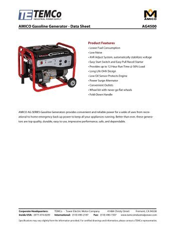 AMICO Gasoline Generator - Data Sheet AG4500 - TEMCo ...