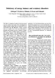 Deficiency of energy balance and ovulatory disorders - Human ...
