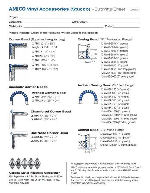 AMICO Vinyl Accessories (Stucco) - AMICO Building Products