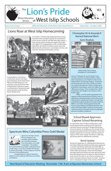 Lions Pride Newsletter.indd - Welcome to the West Islip School District