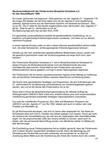 Rechenschaftsbericht des Fördervereins Biosphäre Schaalsee e.V. ...