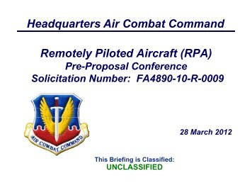 Headquarters Air Combat Command Remotely Piloted Aircraft (RPA)