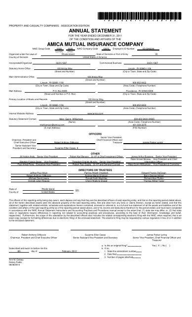 Amica Insurance Company >> 19976 Amica Mutual Insurance Company Original Filing