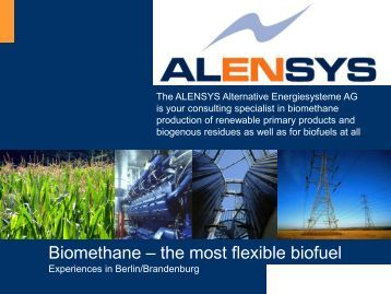 Biomethan - the most flexible Biofuel - Experiences from ... - Amiando