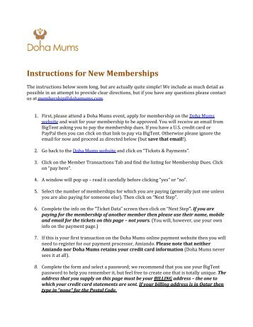 Instructions for New Memberships - Doha Mums