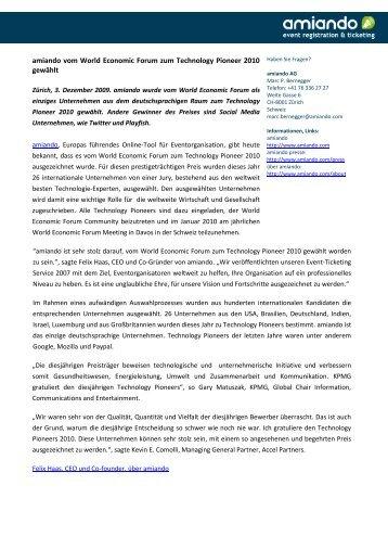 amiando vom World Economic Forum zum Technology ... - SECA