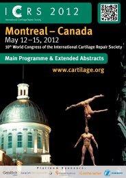 Montreal – Canada - International Cartilage Repair Society