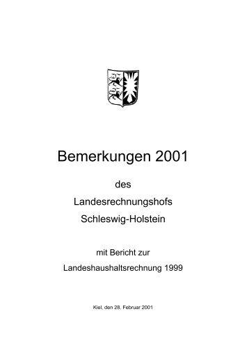 Bemerkungen 2001 - Landesrechnungshof Schleswig-Holstein