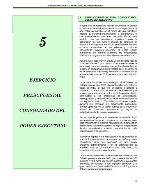 5 Ejercicio Presupuestal Consolidado Del Poder Ejecutivo