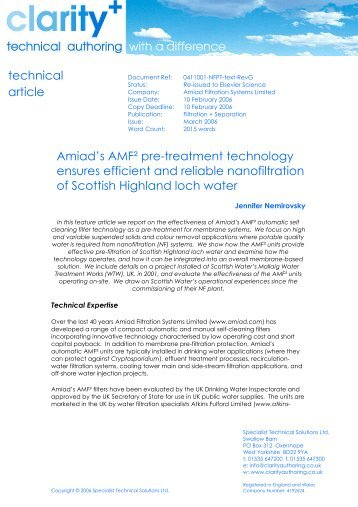 Scottish Water Clarit Paper - Amiad