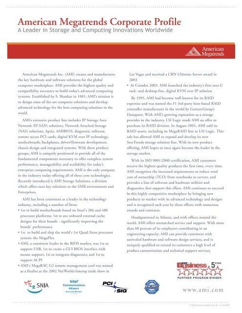 American Megatrends Corporate Profile - American Megatrends Inc