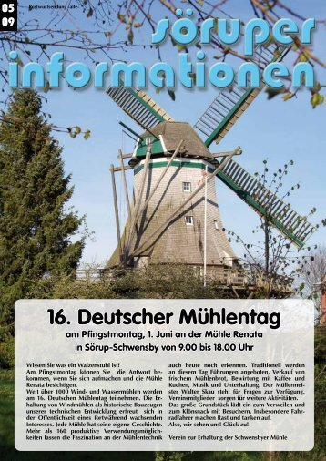 16. Deutscher Mühlentag - Söruper Informationen