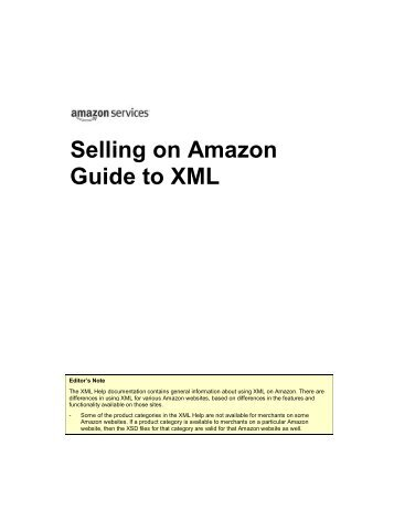 Selling on Amazon Guide to XML