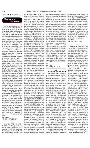 Boletin Oficial N 27888 del 19/04/2007 - Gobernación de Mendoza ...