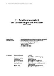 11. Beteiligungsbericht der Landeshauptstadt Potsdam