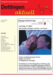 Dettinger Kabarett-Tage - Gemeinde Dettingen an der Erms