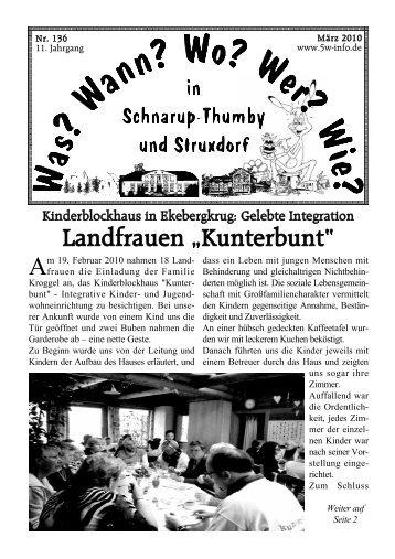 "Landfrauen ""Kunterbunt"" - Wann? Wo? Wer? Wie? in Schnarup ..."