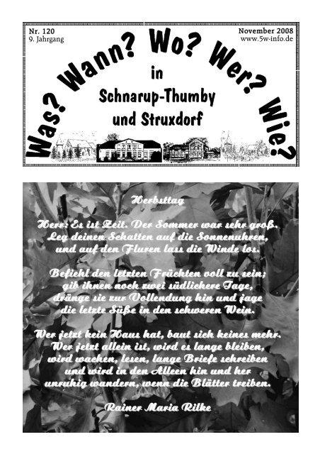 November 2008 - Wann? Wo? Wer? Wie? in Schnarup-Thumby